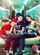 Selena Gomez and Justin Bieber on an Airplane - September 2011